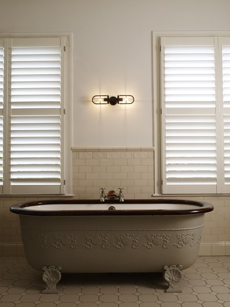 Davey Lighting Double Well Gl Wall Light Weathered Br Clear 7208 We Bathroom Lifestyle Portrait Harriet Paterson